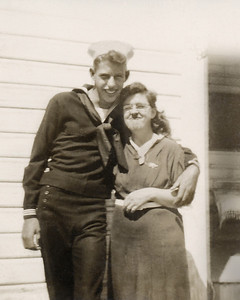 33. Charles (Chuck) Wildren Johnson and his mother Ina May Hosier, c. 1951, Arlington, WA