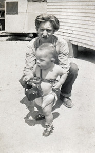 29. Darrell (Bunk) Moore and his son David Michael Moore c. 1951, Myrtle Creek, OR