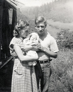 30. Darrell Moore, Marian Johnson/Hosier Moore, and son David Michael Moore, c.1950, Myrtle Creek, OR