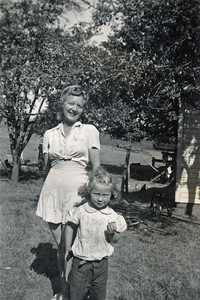 21. The Pin-up and the Brat  Vera Moore Simmons and baby sister Gail Maxine Moore,  c. 1947. Days Creek Cutoff, Myrtle Creek, OR