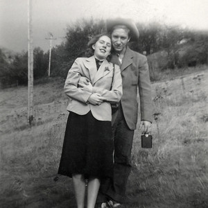"19. Darrell Levon (""Bunk"") Moore and Marian (Johnson/Hosier) Moore all dressed up, c. 1949, Myrtle Creek, OR (Their wedding day?)"