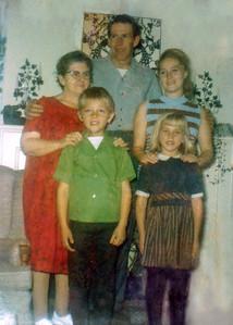 45. 1966-67 photo, including Ina Hosier, Charles (Chuck) Johnson, Gail (Moore) Johnson, Kit Johnson and Julie Johnson, taken in Longview, WA