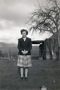 14. Evelena Moore, Days Creek Cutoff, Myrtle Creek, OR, c. 1946. Structure in background is tent Vera and Ray Simmons lived in right after WWII when housing was hard to get.