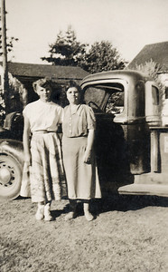 34. Ina May Hosier and Carla Metzger, c. 1951, Arlington, WA.   [Chuck Johnson met Carla when he was home on leave after Navy boot camp, probably July-August, 1951.]