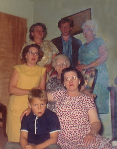 44. May 1966 photo, including Aunt Nan Walters (89), Willa Wilson (68), Berta Colven (55), Ina Hosier (51), Marian Louise Moore (34), David Michael Moore (16), Christopher Reuben Moore (10)
