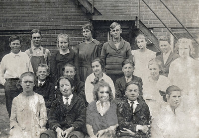 43. Evelena Varnum (back right) at school in White Hills, Oklahoma, c.1918
