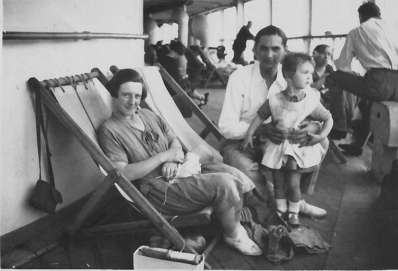 Jesse Doris Radford (nee Wenham), Clement James Radford and Dorothy Rhoda Lewis (nee Radford) on board the Orama emigrating to Australia