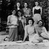 Winnie (2nd from R, seated with white skirt) and friends. Early 1940's?