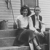 Winnie and Martin on the back steps of the Hildebrand home in Clayton