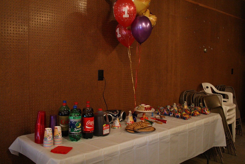 Cups, drinks (Sprite, Diet Coke, Coke, Caffeine Free Coke, and Milo's Sweet Tea), sugar-free desserts (peanut butter cookies, apple pie and vanilla ice cream), Anderson's personal cake, and party favors including hats and horns; we also played the cd we bought for Anderson in Gatlinburg that puts his name into the songs