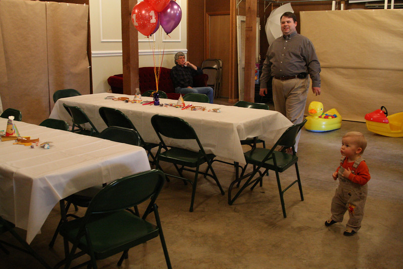 """Alan (PapaBain), Shannon, Anderson -- seeing the party decorations (especially the balloons) for the first time. """"Ooooo! Ooooo!"""", he said."""