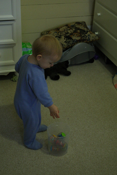 Anderson's first birthday. His daddy was out of town on business, so we were saving his presents until his party on February 2nd, but I had to give him something! He loves balls, and he loves things that make sounds (he knows what sound every toy makes, and he makes it his mission in life to make that sound with that toy just as loud and hard as he can -- he's always shaking things like crazy!), so these were a set of 6 Listen-Up Roll Arounds -- hard plastic balls that are mostly clear: each one has something different inside that is interesting to look at and, with this set, that makes its own, unique and fun sound.