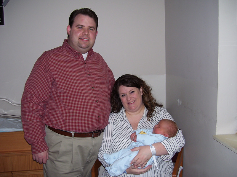 Here we are, the new family of three ready to go home on Thursday afternoon. Boy were we tired! and my pain medication still had me pretty zonked (good thing this wasn't a beauty contest!), but we were excited to get home at last.