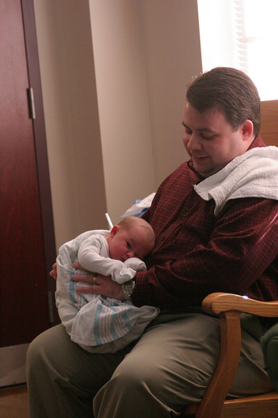Daddy and Anderson - burping practice.