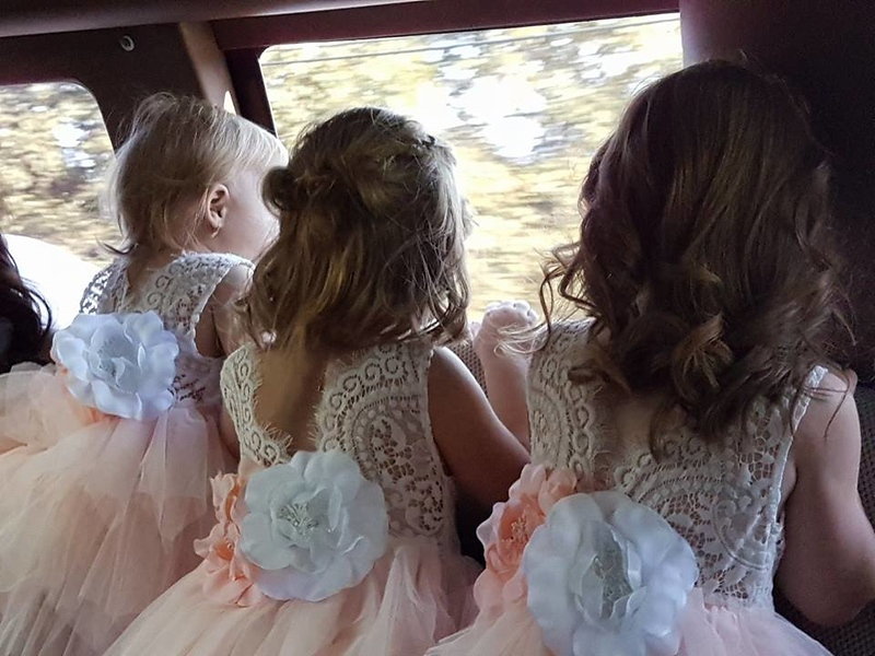 Emily, Madeline and friend Autumn in the limo on the way to the ceremony.