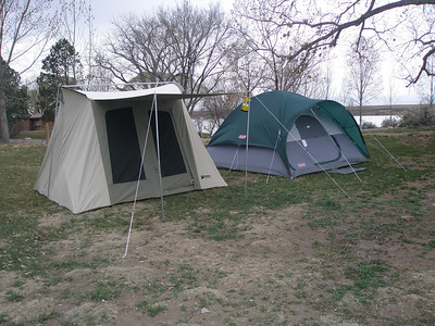 Tent on left is a 10' x 10' Kodiak Canvas Tent with a very think rubber floor. I hope it last a lifetime as it is $399. I got it so I could put two nice cots and a heater in it to keep Norma comfortable. Our older tent the right is just a $60 Walmart Coleman tent, but it is 10' x 12' and will hold up for a few years if we are lucky, at least till we get rid of the kids