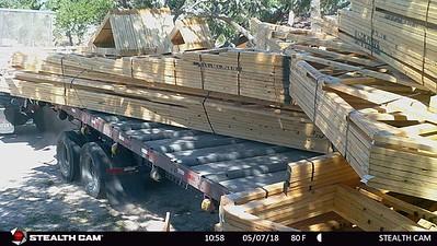 Trusses being delivered