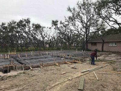 Waiting on concrete, we pour Thursday. The plant is booked.   We have a temp pole and running water. Norma has hours on the phone getting power set up and Mom helped get water, gas and sewer tap work orders pushed thru.   I just schedule inspections. The ladies do the rest.