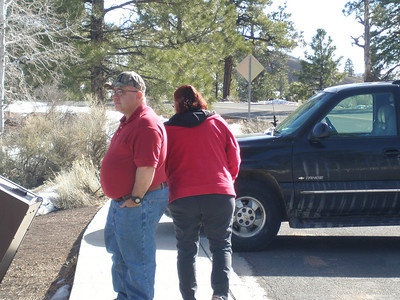 Miles and Liz taking a stretch break on way home