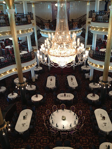 The Main Dining Room had three levels. We didn't get to eat with the Captain at the round table on the first level but did enjoy many great meals in our Dining Room (2nd level - Top Hat and Tails).
