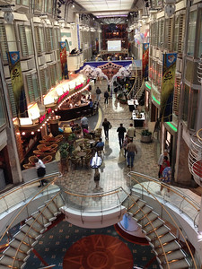 The Tax and Duty Free Shops are located on the Royal Promenade, Deck 5. Yes, this is inside the ship! Norma and Andy had a bird's eye view of the promenade from their cabin window.