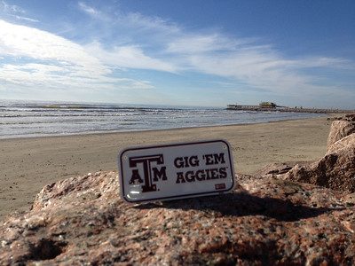 Galveston Beach-This is the first of many pictures with Andy's Aggie Plate!