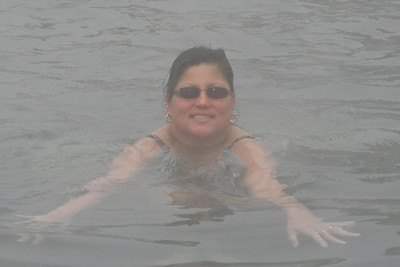 Norma in the Hot Springs and it snowed on us while we were in the pool!