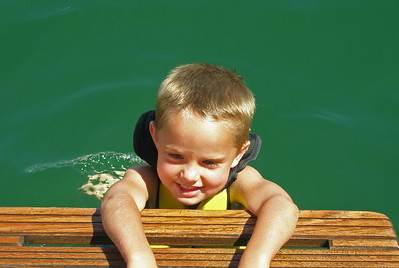 Jackson didn't like to get too far from the safety of the boat, but isn't he cute!
