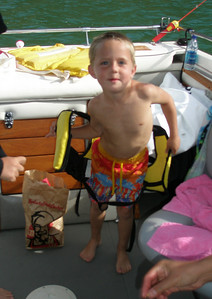 Jackson was a handfull, keeping the life jacket on.
