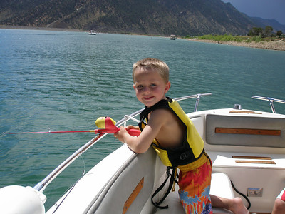 Jackson fishing with his cute pole