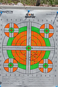 Donald's target at 100 yards, (300 feet). The scope is just about sited.