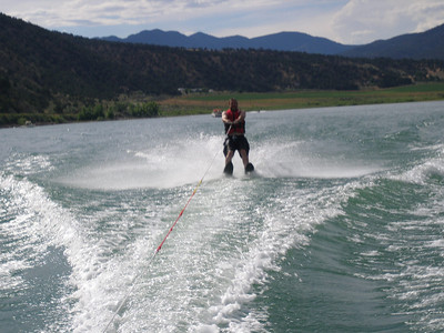 Andrew skiing, notice the nice backdrop this lake has