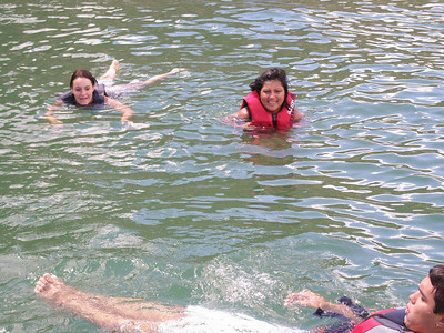 Tiffany, Norma and Donald swimming. Notice we are all life jackets by now!! Ranger made us do it!