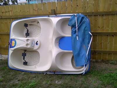 """Thanks to Donald for picking up this pedal boat in Rockport. It was listed on craigslist. Pat say's """"the check is in the mail"""". We can now have pedal boat races. Grand prize will be...?"""