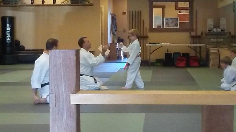 Breaking boards at karate