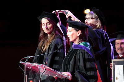 Honoring Claire Wendling, honorary doctorate recipient accomplishments are presented