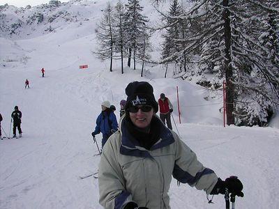 Elaine Skiing in Cham