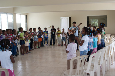 Padre led some songs with the kids
