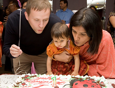 Boy! I am a year old, got to blow the candle and eat some good cake. That was really fun.