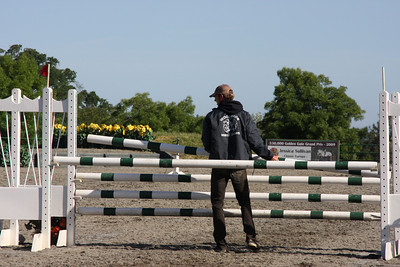 Dog agility jump bars are 4 feet long and an inch in diameter. Horse show jump bars are--much bigger