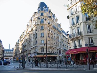 Historic buildings in Paris near Gare de Lyon.  Gare de Lyon translated to Station at Lyon