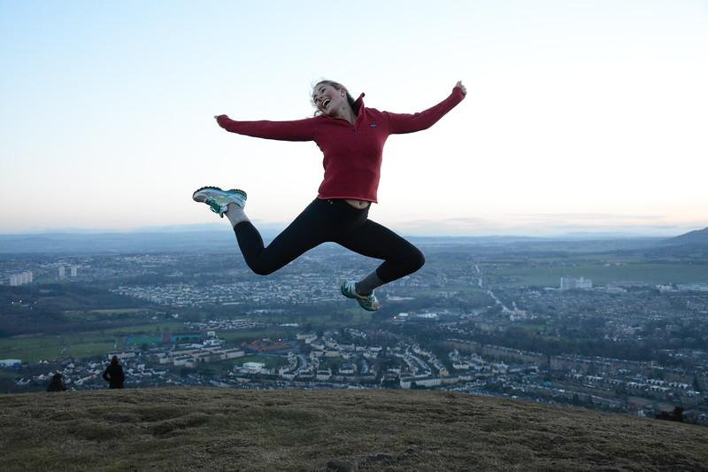 Anna flying over Edinburgh, Scotland, 2014