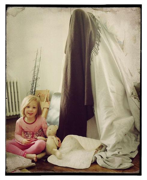 Tent built on a ladder