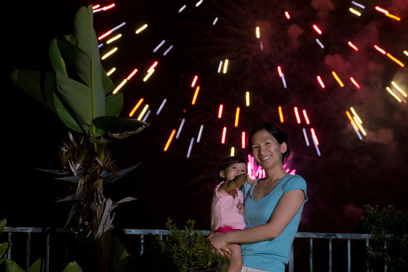 Look, mamma!  Annalise points at the camera flash while the fireworks go off.