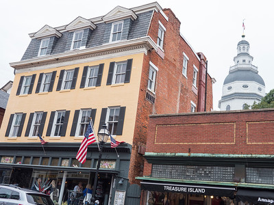 Annapolis. Main Street building with the capitol in the back.