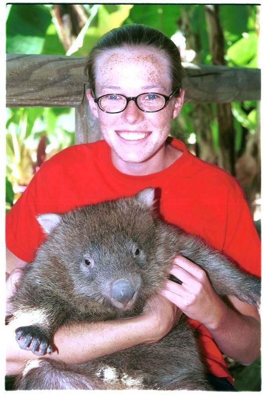 With wombat in Australia