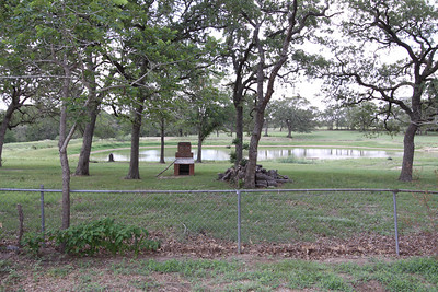 IMG_6788 - the barbecue pit and the 2 acre pond south of the house stocked with bass and catfish.