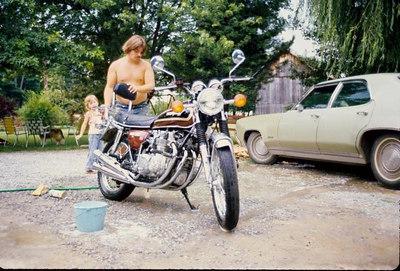 Bob washing his motorcyle and I'm supervising