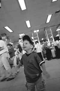 Anthony in the train station after the Astros/Cubs game.