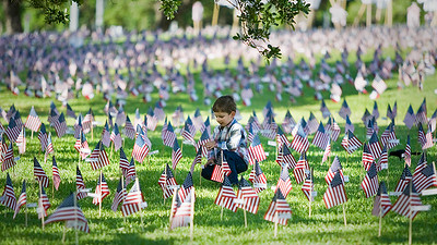 Memorial Day 2009 - Anthony at a Memorial Day exhibit in Hermann Park, Houston.  Each flag represents a fallen soldier from recent military conflicts.